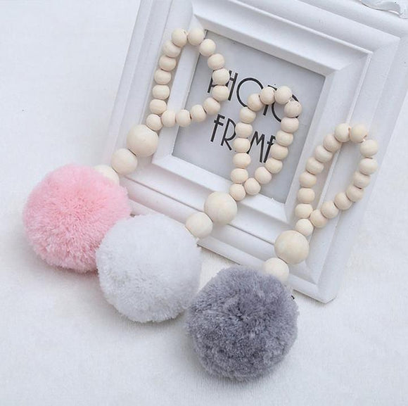 Wooden Beads Garland Loop with Pompom Ball