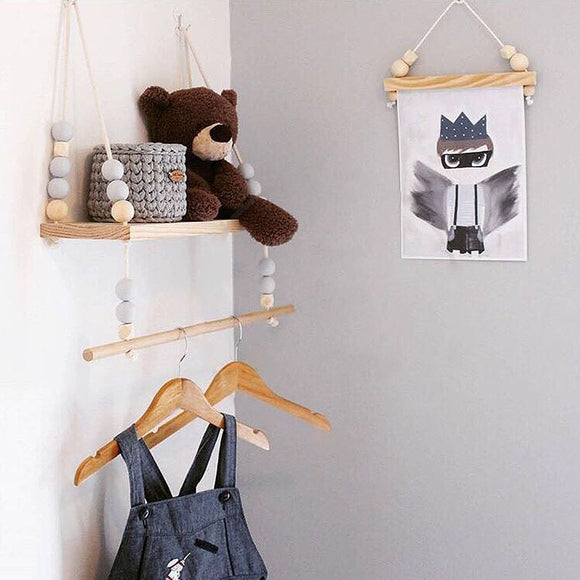 Wooden Beaded Wall Shelf With Clothes Hanger