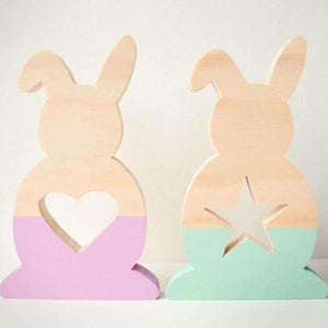 Nordic Style Wooden Hollow Star / Heart Bunny Decoration