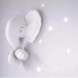 Plush White Elephant Head Wall Decor