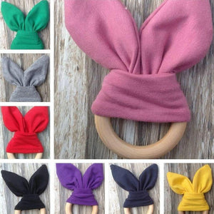 Bunny Ears Wooden Teething Toy Ring