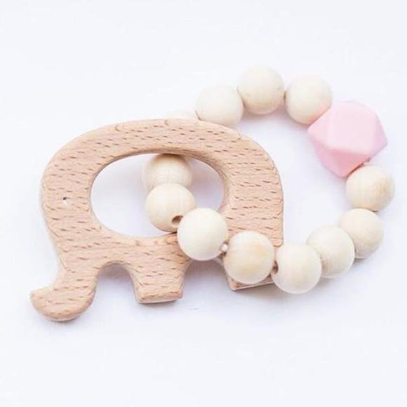 Wooden Beaded Baby Teething Toy Bracelet