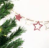 Hanging Wooden Beads Garland with Cut-out Stars