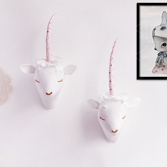 Animals 3D Soft Wall Mounted Decoration - Deer / Unicorn