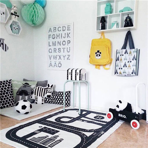 Road Track Print Cotton Rug