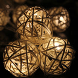 Wicker Rattan Ball LED String Lights