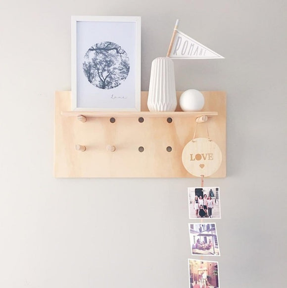 Mini Wooden Pegboard with Holes Wall Organizer