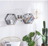 Geometric Wood and Metal Hexagon Wall Storage Shelf