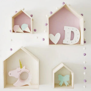 House Shaped Hanging Wooden Shelves (Set of 2)