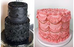 image of 2 lavishly decorating cakes. one is a two-tier cake and the other is a single tier. Both are decorated in the lambeth style