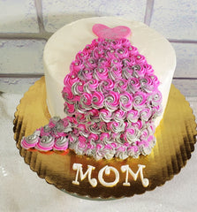 image of sample of the dress cake teams will make in the parent & me cake decorating class for mother's day