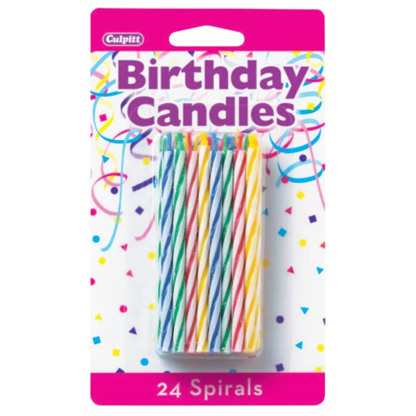 Primary Skinny Spiral Birthday Candles - 24pc