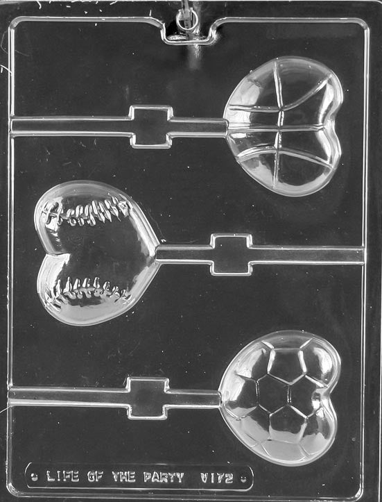 Heart Shape Sports Ball Lollipop Chocolate Mold
