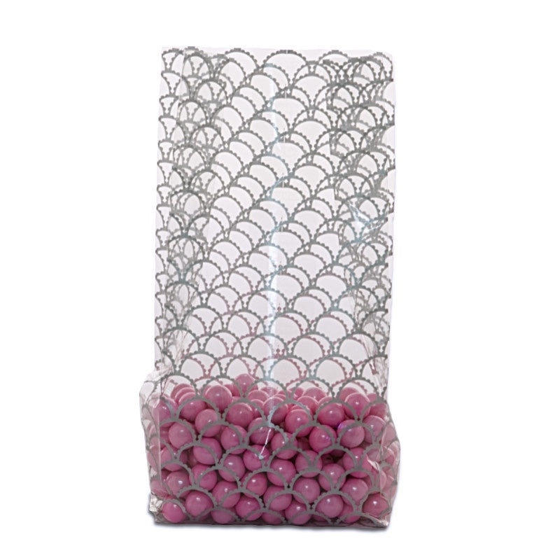 3.5x2x7.5 Bags - SIlver Scalloped Circles - 10 Bags