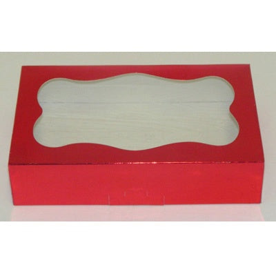 Foil Cookie Box - Red with Window
