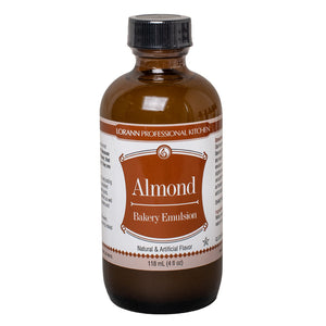 Picture of 4 ounce bottle of water-soluble, almond bakery emulsion