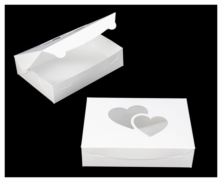 Pastry Box - White with Heart Cutout - 10x7x2.5