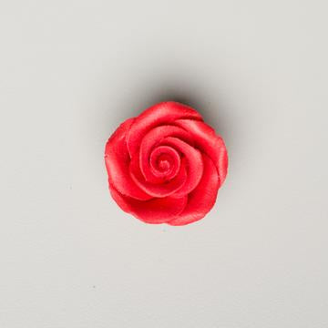 "Small Rose, Red 1 1/4"" with calyx"