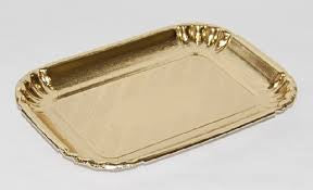 Small Medoro Gold Rectangle Tray - 13.5cmx8.5cm - 10 Pieces
