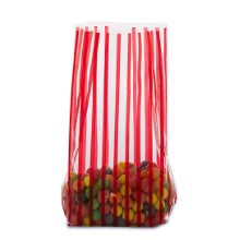 3.5x2x7.5 Bag - 10 Bags - Red Vertical Stripe