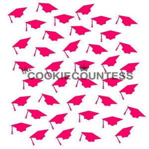 Graduation Caps Cookie Countess Stencil