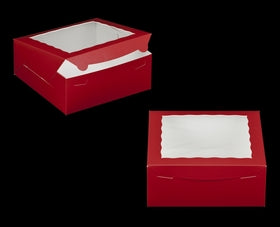 Pastry Box - Red - Window - 10x10x4