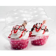Plastic Cupcake Container - 2 Standard Size Cupcakes