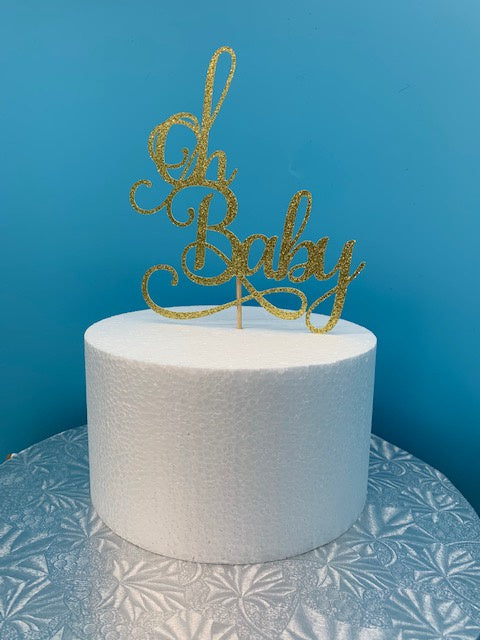 Oh Baby Cake Topper - Glitter Gold