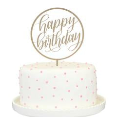 Happy Birthday Cake Topper Gold Mirror