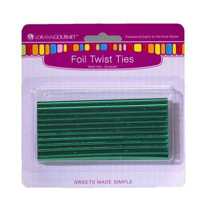 Lorann Green Foil Twist Ties - 50 count
