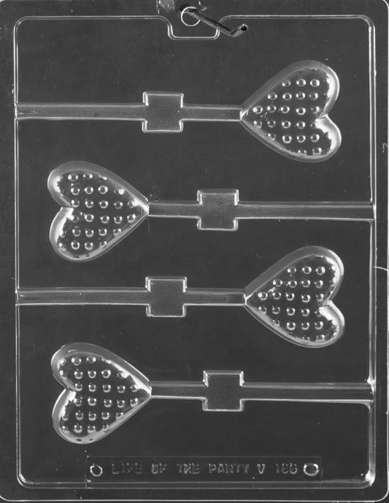 Polka Dot Heart Lollipop Chocolate Mold