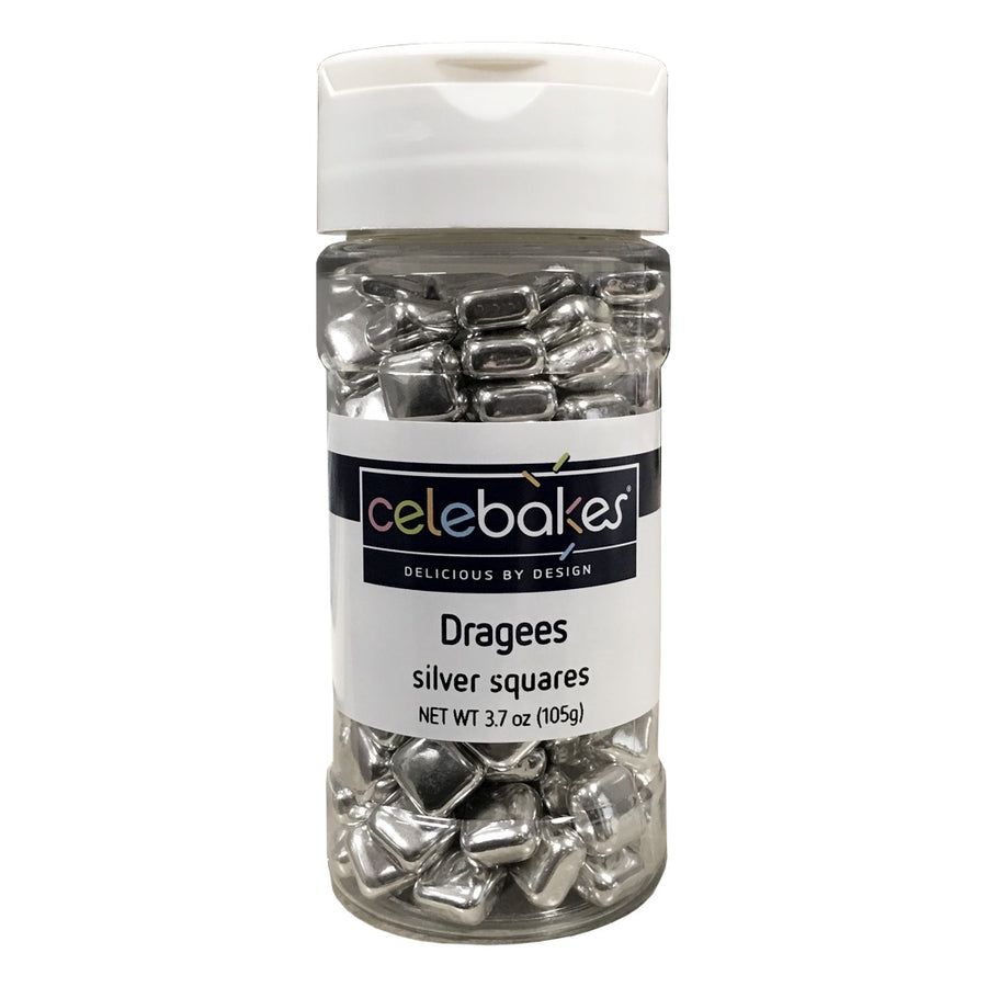 Celebakes Dragees - Silver Square Shaped