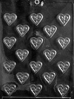 bite size Heart With Flower Chocolate Mold