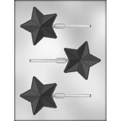 3Pc Star Lollipop Chocolate Molds