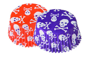 Orange & Purple Skulls Baking Cups