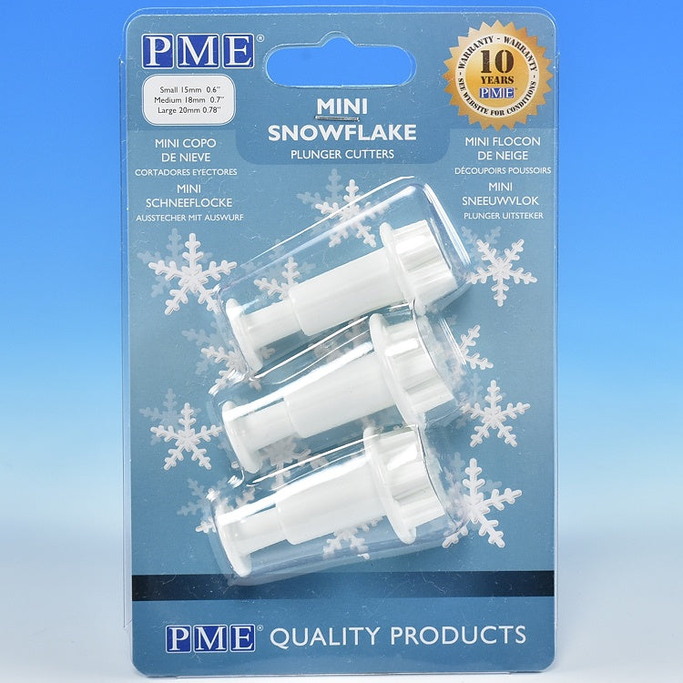 PME Mini Snowflake Plunger Cutters - 3pc