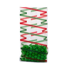 3.5x2x7.5 Bag - 10 Bags - Red & Green Diagonal Stripe