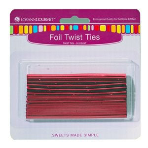 Lorann Red Foil Twist Ties - 50 count