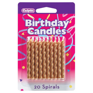 Gold Spiral Candles - 20 pc
