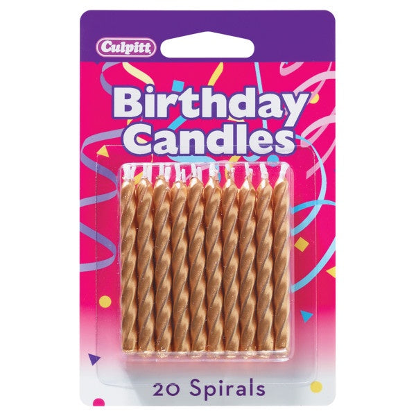 Gold Spiral Birthday Candles - 20pc