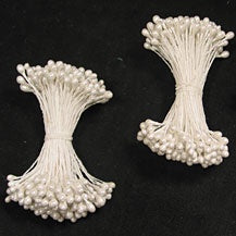 "Pearl Flower Stamen - White - 3"" - 144 Pieces"