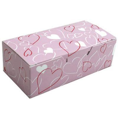 1 Piece - 1/2LB Candy Box - Pink w/Hearts - 1080 EH