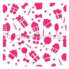 Birthday Icons Pattern Stencil