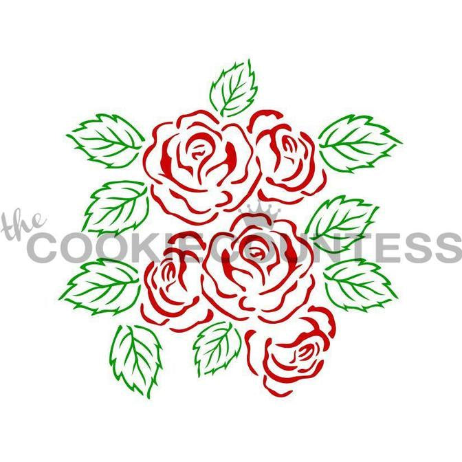 Rose and Leaves 2 Piece Stencil