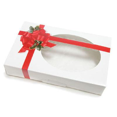 Christmas Cookie Box - Ribbon & Holly with Window - 1lb