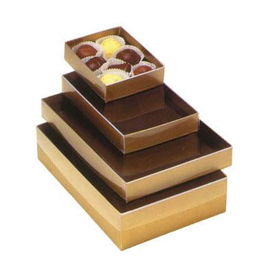 2 pc - 1/2 lb Candy Box Gold w/ Clear Lid - no insert