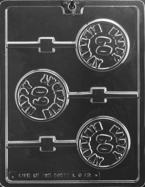 Happy 60th Birthday Lollipop Chocolate Mold