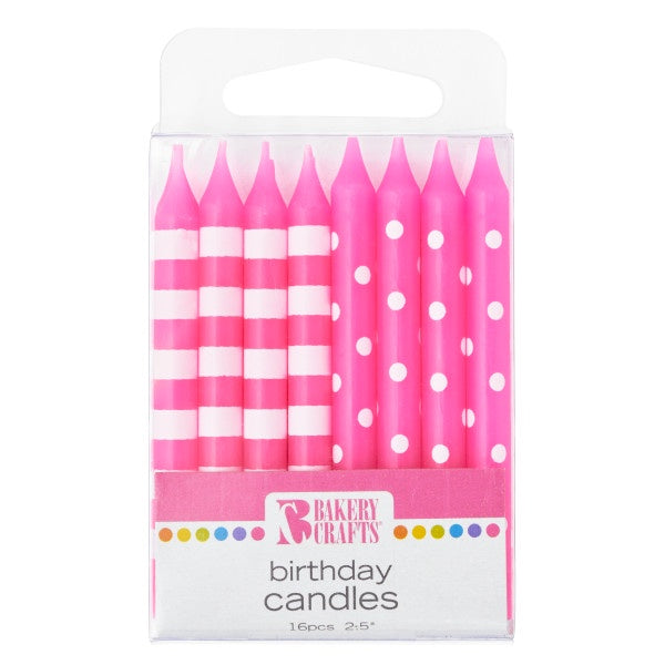 16pc Pink Stripe and Dot Candles
