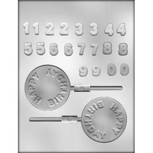 Happy Birthday/Numbers Lollipop Chocolate Mold