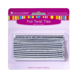 Lorann Silver Foil Twist Ties - 50 count